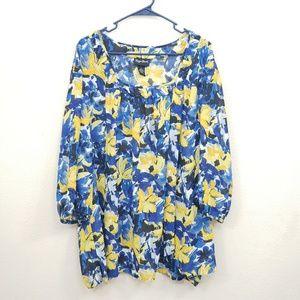 Maggie Barnes Blue Yellow Blouse Size 3X
